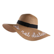 """Tan """"Do Not Disturb"""" Floppy Derby Wide Brim Straw Hats With Embroidered Letters"""