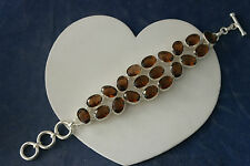 "Beautiful 925 Silver Bracelet With Smokey Topaz Gems 53.3 Gr.8."" 5 Inches Long"