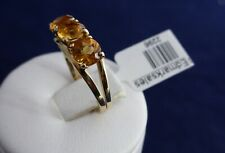 9CT SOLID YELLOW GOLD 3 x 5mm CITRINE RING 2.0gr.