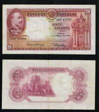 PORTUGAL ESCASO BILLETE 20 ESCUDOS. 7 de Marzo de 1933. Serie ASV 17240.
