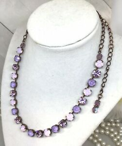 Copper Lilac Cup Chain Tennis Necklace Made With Pink Opal Swarovski Crystals