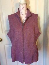 Coldwater Creek Purple White Herringbone Zip Wool Blend Career Vest 16