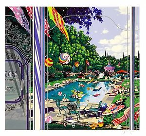 Hiro Yamagata - Pool Party, hand-signed serigraph, Framed