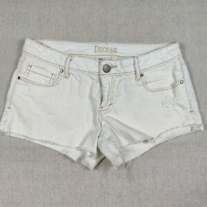 Decree White Denim Women's Raw Hem Shorts sz 9 stretch Great Condition Beach Fun
