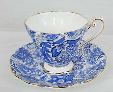 Berkeley Square Tea Cup and Saucer Blue and White Paisley  - Bone China England