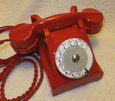 UNIQUE - Early French Bakelite U43 Rotary Dial Desk Phone RE-COATED in BPO Red