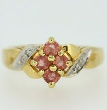 Secondhand 18ct yellow gold treated sapphire & diamond cluster ring size N