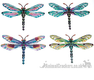 Set 4 bright pastel colour metal 29cm Dragonfly Dragonflies wall art decoration