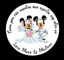 105 X Pegatinas Personalizadas Mickey & Minnie boda redondo favor Etiquetas