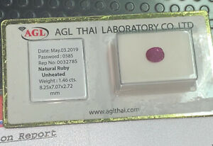 Ruby Blister Natural Doesn'T Scaldato Unheated Burmese Ct. 1,46 Certified