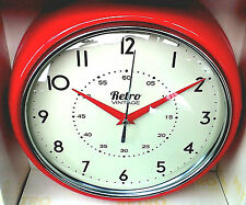 "Retro Vintage Wall Clock - Red - 9.1/2"" Dia ** GREAT GIFT!! **"