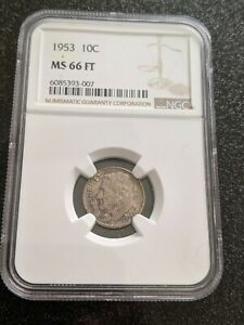 1953 Roosevelt Silver Dime NGC MS-66 FT