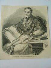 Gravure 1861 - Monseigneur Fialkowski archevêque de Varsovie Poland