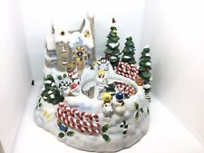 Partylite Snowbell Snowman Skating on Pond Music Box Candle Holder P7651