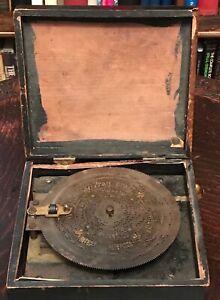 """ANTIQUE SYMPHONION BREVETE PATENT STEEL TONGUE MUSIC BOX  5.75"""" DISC, 1880s"""