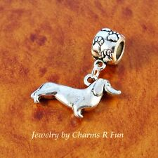 Dachshund dog charm paw bead for silver European charm bracelet or necklace