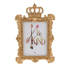 Gold Crown Resin Photo Frame Baroque Luxury Style Decor Rectangle 7 Inch