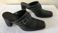 Gianni Bini Women's Size 6.5M Black Leather Mules Slip On Square Toe