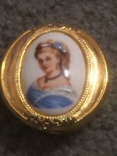 Antique Vintage Limoges & Brass Pill Box With Hand Painted Woman On Lid!