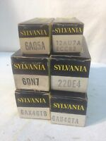 Vintage lot of 6 SYLVAINIA Radio Vacume Tube Radio Parts Repair Tube TV