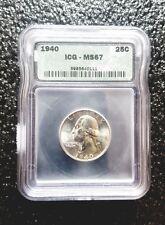 1940-P WASHINGTON QUARTER *MS67* ICG GRADED