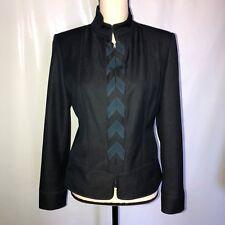 WOMENS Elie Tahari Gray Denim Chevron Zip Up Jacket SIZE 6