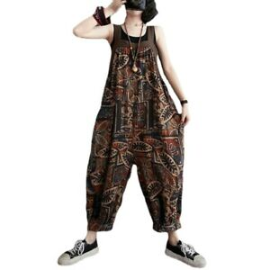 Lady Floral Printed Cotton Dungarees Jumpsuit Baggy Trousers Pants Costumes