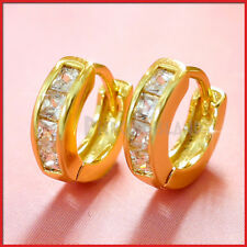 9K YELLOW GOLD GF MINI SQUARE DIAMONDS LADIES SMALL HOOP HUGGIE SLEEPER EARRINGS
