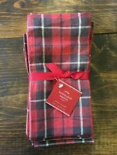 Pottery Barn Landon Plaid Napkins Set (4) NWT Red Charcoal White