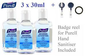 3,5 x 30ml Purell Advanced Hygienic Hand Rub Gel Sanitiser, Portable Belt Clip