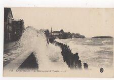 Saint Malo Le Sillon Un Jour de Tempete Vintage LL Postcard France 280a