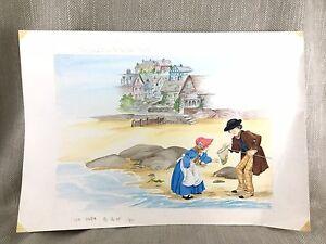 Originale Libro Opera D'Arte Illustrazione The Acqua Bambini Dipinto a Mano Art