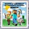 KIDS MINECRAFT BIRTHDAY CARDS - personalised with any AGE RELATIONSHIP & NAME