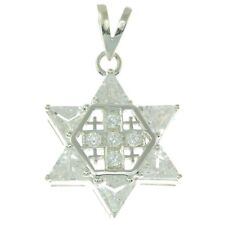 Star of David with Jerusalem cross Silver 925 Pendant With White Colored Stones