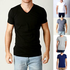Mens Premium V NECK 5 Pack Tshirts Slim Fit Tees Casual Plain Blank Style Basics