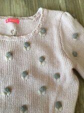 Anthropologie Manoush 3/4 Sleeved Sweater Soft Pink Floral Buds Embellished Sm