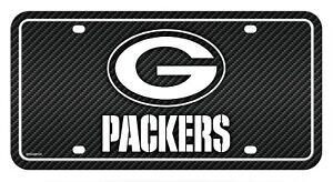 Green Bay Packers Metal Tag License Plate Carbon Fiber Design Premium Football