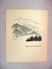 1930-40's C.Palmer Ink Drawing of Katahdin Peak, seen from Doubletop, Maine