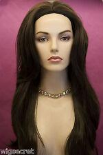 Brunette Long Straight Skin Top Wigs