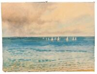 "Wall Art Painting on Canvas Nautical Beach Ocean Sailboats 30""x40"" Coastal Decor"