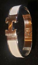 Auth HERMES Clic Clac H Bangle Bracelet Silvertone/Enamel White