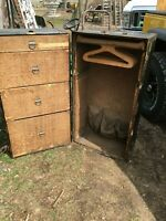 VINTAGE Antique WARDROBE Steamer Trunk w/Drawers HANGERS ATLAS TRUNK
