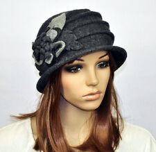 M92 Dark Grey  Wool Acrylic Cute Flowers Winter Brim Hat Cap Beanie Women's