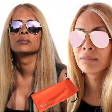 Damen Piloten Sonnenbrille Retro Luxus Rose Gold Pink Verspiegelt B50 Rennec