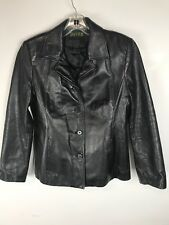 DANIER LEATHER Women's Black Leather Blazer Jacket Size Medium