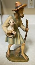 Anri 6� Wood Carving Nativity Shepherd w Lamb Figurine Made n Italy Hand Painted