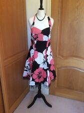 BAY  HALTERNECK DRESS  SIZE 12. PINK BLACK WHITE. NETTING TO LINING  ELASTICATED