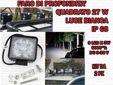 2 FARI DI PROFONDITA' QUADRATI 27 W 6000°K AUTO FUORISTRADA CAMPER BARCHE IP 68
