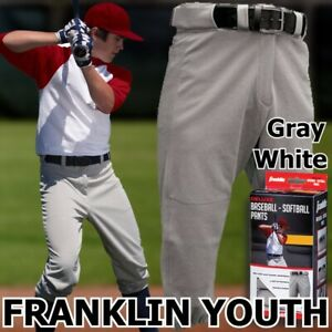 NEW~~~ Franklin Deluxe YOUTH BASEBALL SOFTBALL PANTS. Gray, White. X-S, S, M, L