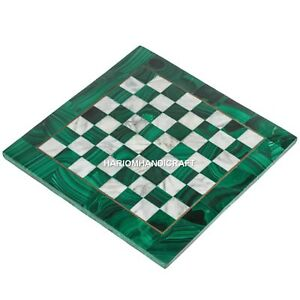 Green Marble Chess Coffee Side Table Top Inlay Design Malachite Stone Art H4671B